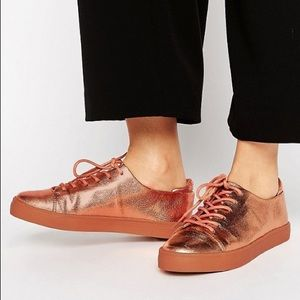 ASOS | Copper Metallic Lace Up Sneakers